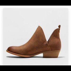 Brown Ankle Booties with Cut Out